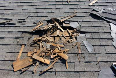 Home inspection in Ridgefield with a damaged roof